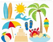 ON SALE - Summer Clipart / A Day At The Beach Clipart / Digital Clipart - Instant Download