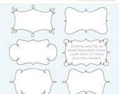 ON SALE - Curly Frame / Baby Frame Clipart - Instant Download