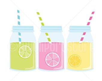 Clipart - Lemonade in Mason Jars Clipart (Single Clipart Image) - Digital Clip Art (Instant Download)