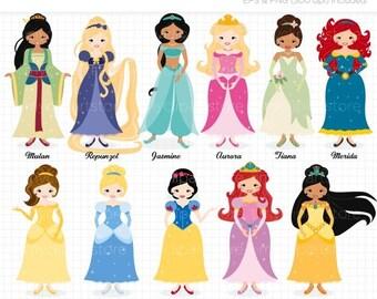 ON SALE - 25% OFF - Fairytale Princess Clip Art / Digital Clipart - Instant Download