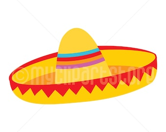 Clipart - Yellow Sombrero Hat (#1) / Cinco De Mayo / Mexican Clipart (Single Clipart Image) - Digital Clip Art (Instant Download)