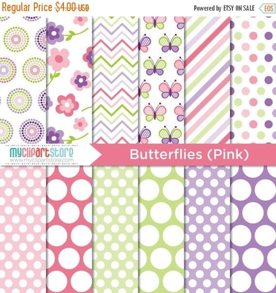 50% OFF SALE Digital Paper - Mother's Day / Pink Butterflies - Instant Download