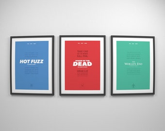 The Cornetto Trilogy ~ Minimal Movie Posters, Retro Minimalist Art Prints by Christopher Conner