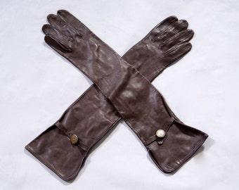 BELSTAFF Vintage 100% Kid Leather Elbow Length Gloves Gauntlets Size XL Mint Vintage