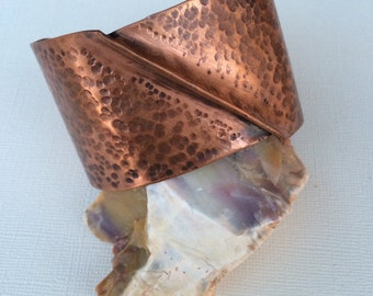 Copper Cuff Bracelet, Hammered Copper, Fold Formed Jewelry, Metalsmith Jewelry