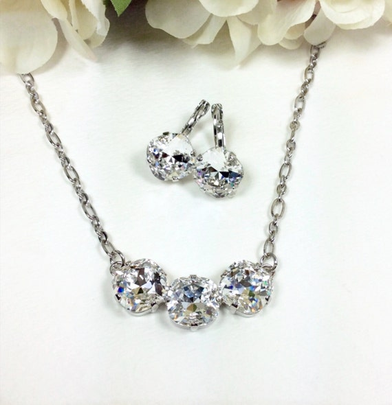Swarovski Crystal Necklace 12MM Cushion Cut - Three Crystal Necklace Designer Inspired - Clear Crystal   Sparkle & Shimmer - FREE SHIPPING