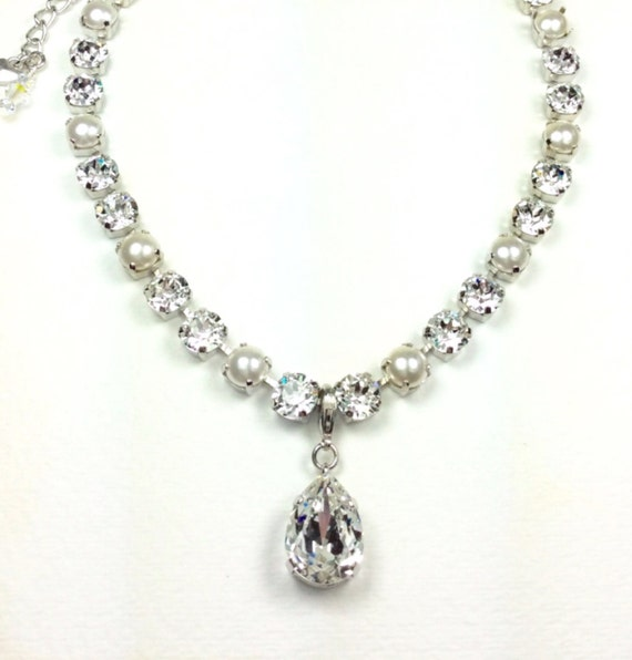 Swarovski Crystal 8.5mm Necklace  Bride Necklace - Radiant Crystals & Creamy Pearls - WITH Gorgeous Pear Shape Crystal Drop - FREE SHIPPING