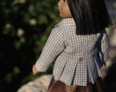 Gingham Checked Jacket with Faux Leather Skirt and Eco Friendly Tote.