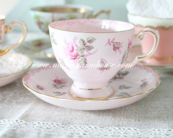 Vintage, Pink English Fine Bone China, Footed Tea Cup and Saucer Duo by Tuscan, Gifts for Her, Replacement China - c. 1947+
