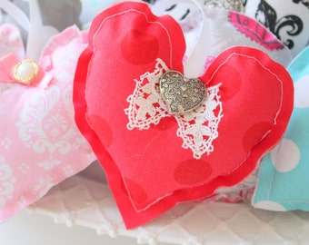Handmade Waverly Inspirations Cotton, Polka Dot Pattern, Hanging Heart Ornament, Gifts for Her, Heart Pillow, Shabby Chic