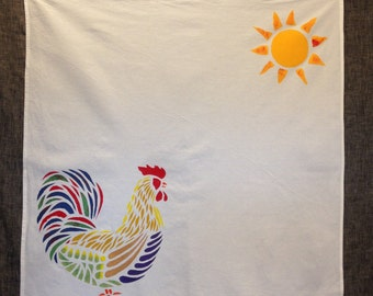 Country Rooster Tea Towel