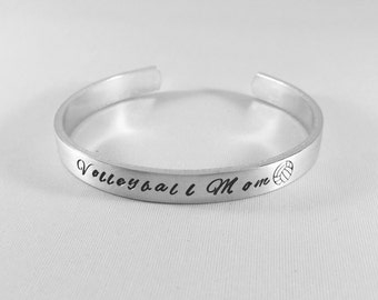Volleyball Mom Hand Stamped Bracelet - Gift for Mom - Unique Volleyball Gift - Mother's Day - School Pride - Team Pride - Sports Mom - kg811