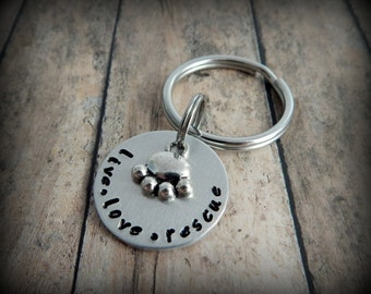 live love rescue Hand Stamped Key Chain - Animal Rescue - Pet Adoption - Dog - Cat