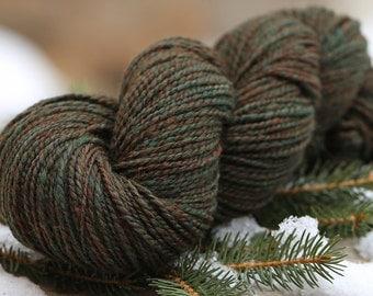 "Handspun Yarn DK Weight Shetland/Bamboo/Baby Alpaca ""Forest""  242 yds."