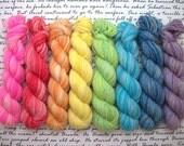 Soft Gradient Rainbow MiniSet of 8 / Mini Skein Set / Fingering Weight / 75/25 Superwash Wool Nylon Blend Sock Yarn