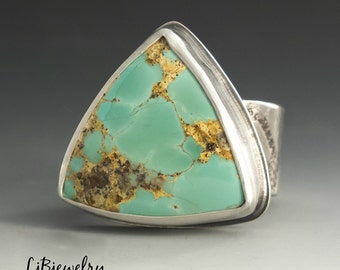 Turquoise Ring, Silver Ring, Statement Ring, Metalsmith Ring, Handmade Jewelry, Size US 7.5