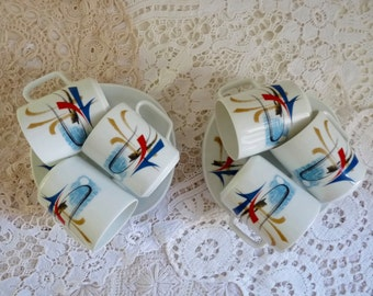 Vintage set of 6 COFFEE CUP and SAUCERS, Contemporary Design by Georges Boyer. Pattern Rimbaud. Stamped Porcelaine Dure, Limoges France.