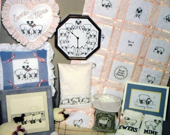 We Love Ewes, Too Sheep cross stitch booklet CLOCK