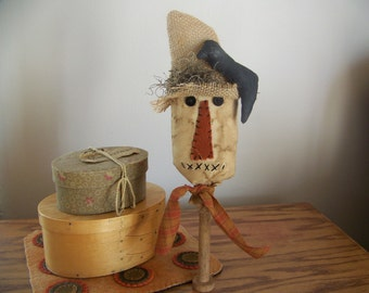 Primitive Scarecrow Bobbin Fall Harvest Decor