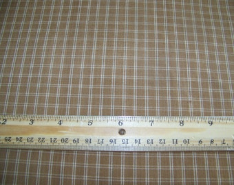 1 Yard Primitive Homespun Fabric Brown with Cream Checks