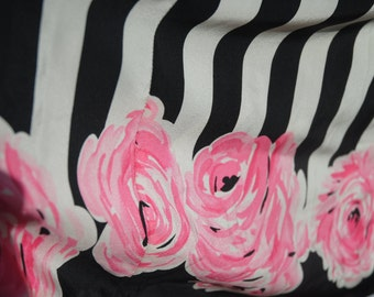 80's Does 50's Silk Dress Black and White Silk with Roses Cupcake