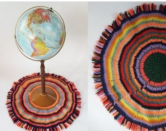 SHOP IS AWAY --- 1960s Handmade Knit Circular Striped Double Sided Fringe Rug / Centerpiece