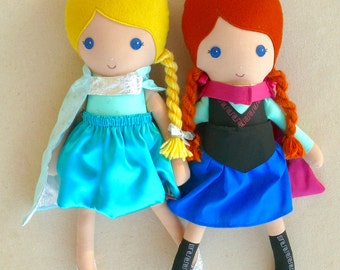 Reserved for Victoria - Fabric Dolls Rag Doll Princess Dolls with Coordinating Capes