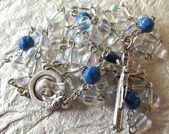 October/Opal Glass Birthstone Rosary