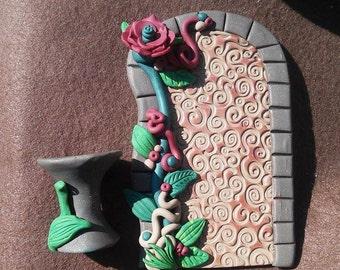 Fairy Gnome Troll Garden Door Matching Bird Bath Stand Polymer Clay OOAK