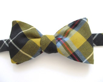 for GREG ~  Plaid Bowties made in a Heritage tartan~ black , red . mustard and blue