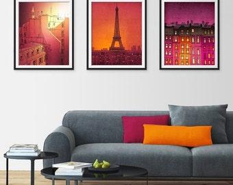 20% OFF SALE: Any THREE Prints - Save 25 Percent,Set of three Illustrations,Paris Art Print Poster Home decor Mixed media Nursery decor Kids