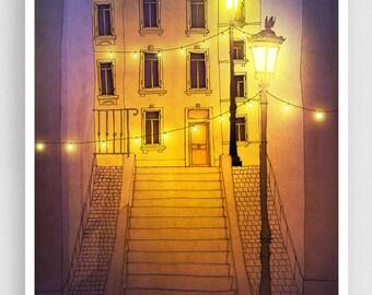 Paris Art Print - Night walking (purple-yellow) - Paris Montmartre Illustration Print Parisian Home decor Nursery art Kids wall art Poster