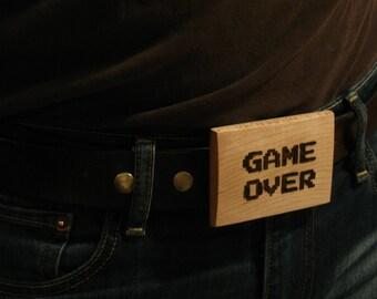 Game Over - 8-Bit Wood Belt Buckle