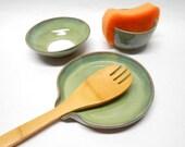 Kitchen Set Salt Bowl Salt Pinch Pot Ring Dish Pottery Spoon Rest Sponge Holder Wedding Gift House Warming Gift Green with Blue