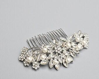 Pearl Rhinestone Wedding Hairpiece - Vintage Rhinestone Haircomb