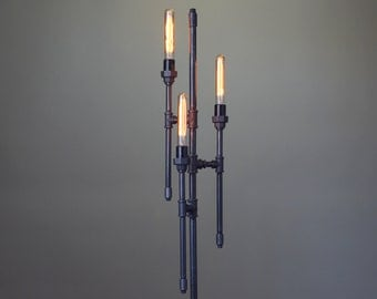 Bare Bulb Floor Lamp - Industrial Floor Lamp - Gothic Lamp - Steampunk Lamps - Pipe Lamp - Industrial Furniture