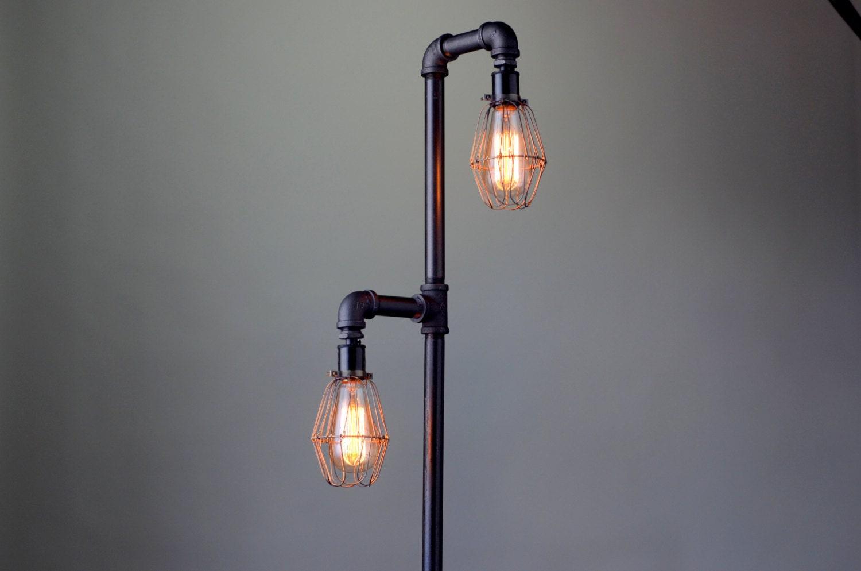 Pipe floor lamp industrial floor lamp edison bulb for Pipe lamp plans