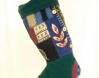 Christmas Stocking//Embroidered//Leaves//Green//Buttons//Recycled//Repurposed 177