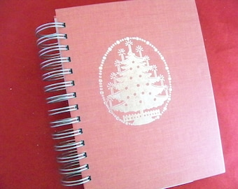 Holiday memories blank book diary journal planner silver Christmas tree