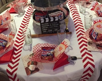 """Baseball Party Themed Red Chevron Modern Wedding Table Runner - set of 2 4"""" wide by your choice of length Chevron - Wedding or Party runners"""