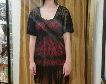 Boho Black Lace Fringe Dress size 4-6