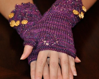 Wristlets - Lacy - Purple and Gold - Hand Knit Fingerless Gloves - Elegant Dressy Romantic Hand Warmers - Ladies Small Gloves