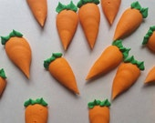 Royal icing carrots -- carrot cake  -- Edible handmade cake decorations cupcake toppers (12 pieces)