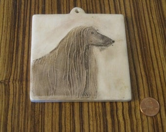 Afghan Hound Ceramic Tile , Dog Wall Hanger , Handmade Ceramic Dog Tile
