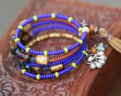 sale Summer Festive Beaded Bracelet * Woodstock Festival * Beaded bracelet 2 - Bohemian, Boho, Tribal, Rustic, Gipsy, Folk, Ethnic, Beaded