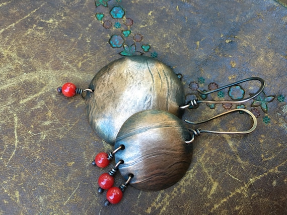 Rustic Textured Copper *Impressions, Textures* earrings n 263 - earthy organic jewelry . simply copper and coral . red coral organic jewelry