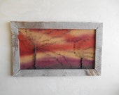 Sunset Windswept Tree Wire Art Reclaimed Barn Wood Frame Burlap Backing - READY TO SHIP