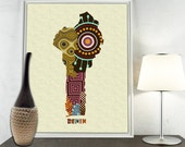 Benin Map Art Print Wall Decor, Benin Poster African Art Print, Porto-Novo Republic Of Benin West Africa Map Poster
