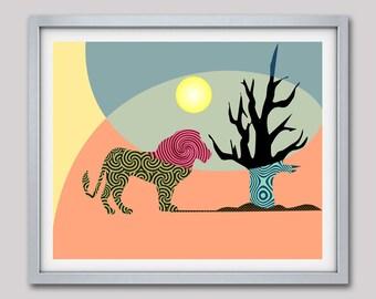 Lion Wall Art, Lion Wall Decor, African Lion, Animal Artwork, Jungle Art, Jungle Animal, Wild Animal African Safari