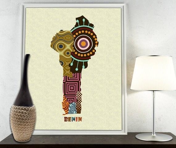 Benin Map Art Print Wall Decor Benin Poster African Art